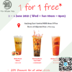 1 for 1 free deal promo