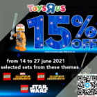 15% OFF lego sets