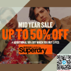 superdry up to 50% off mid year sale promo