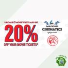 20% OFF MOVIE TICKETS