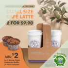 coffee bean 2 small cafe latte for 9.90 promo