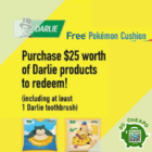 darlie free pokemon cushion july promo