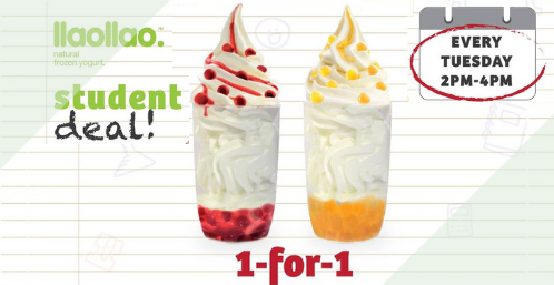 llaollao 1 for 1 student deal promo slider