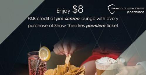 shaw theatres premiere $8 f&b credit promo slider