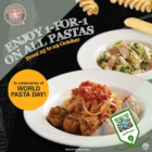PastaMania - 1-FOR-1 PASTA - sgCheapo